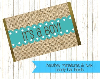 Baby Boy Chocolate Label, Baby Shower Favor, Printable Candy Wrapper, It's A Boy, Hershey's Miniature, Twix Candy Bar