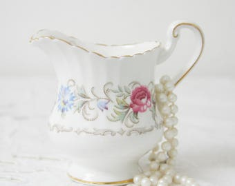 Vintage Paragon Chatelaine Creamer, Milk Jug, Pink Roses and Blue Flower Decor, England