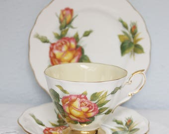 Vintage Royal Standard Tea Trio, Cup and Saucer and Pastry Plate, Peace, Six World Famous Roses, Signed by Harry Wheatcroft