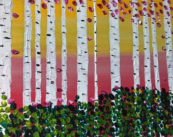 """Birch Trees Painted In Acrylic """"12X36"""" Canvas 