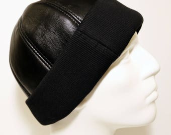 Leather Hat, Leather Cap, Winter Hat, Black Leather Beanie with Stretch Textile, Shearling Leather Hat, Gift for Man