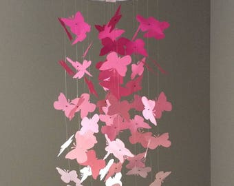 Pink Butterfly Mobile - Ombre Pink Butterfly Mobile - Butterfly Mobile - Nursery Room Decor - Pink Mobiles - Ombre Mobile - Gift Idea