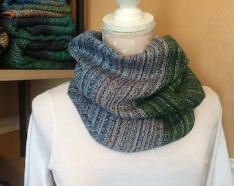 """Cowl scarf """"RECLAMATION"""" cotton handwoven"""