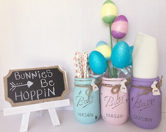 Easter Jars. Painted Mason Jar. Easter Decor. Home Decor. Easter Gift. Mothers Day Gift. Teachers Gift. Birthday Decor.