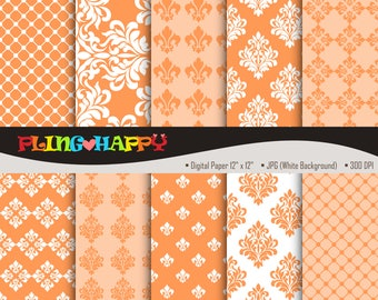 70% OFF Damask Orange Digital Papers, Damask Pattern Graphics, Personal & Small Commercial Use, Instant Download