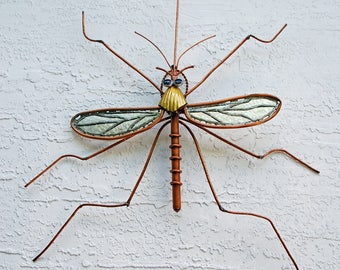 "Copper and Stained Glass ""Wall Hanger"" Mosquito Garden Sculpture, Outdoor Sculpture 2"
