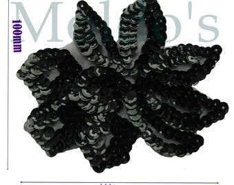 Black Sequin Applique Patch Sequin sew badge flower clothing hat fabric 321