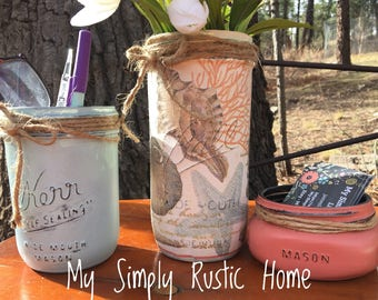 Mason Jar Beach Desk Set-Desk Set-Beach Mason Jar Office-Desk Organizer-Mason Jar Office Set-Office -Desk Decor-Desk Set-business card jar