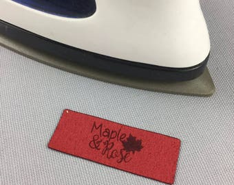 IRON ON Ultra Suede Tags/Custom/Laser Engraved/Laser Cut/Garment Tags/Suede Tags/Ultra Suede
