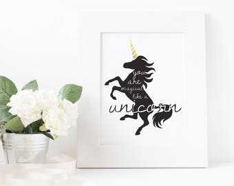 "Silhouette ""Be Magical Like A Unicorn"" Wall Decor Print"