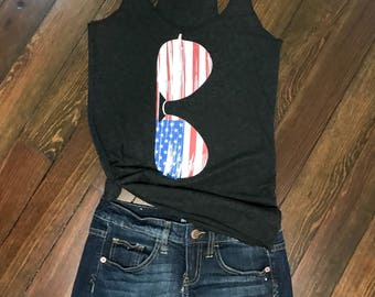 American Flag Sunglasses Racerback Tank Top,Memorial Day Tank,4th of July Shirt,Women's Tank Top,Patriotic Shirts,Independence Day