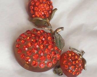 Forbidden Fruit - oranges - brooch and earrings - fabulous
