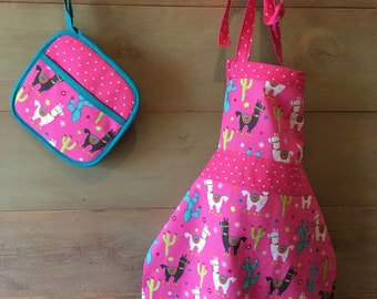 Pink Llama kids apron set, cactus, pink polka dots, play kitchen, childs apron, hot pad, pot holder, fiesta, cactus and llama