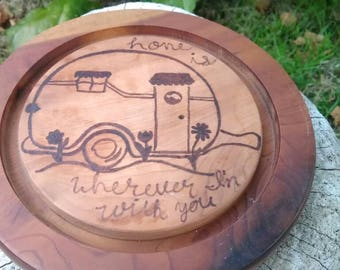 Travel Trailer Decor, Round Trailer Cutting Board, Myrtle Wood Cutting Board, RV Cutting Board, Home Is Wherever I'm With You Decor, RV