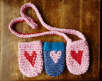 Water Bottle Caddy With Strap only - 18oz or 24oz Jar Cozy - Mason Jar Crochet Heart - Insulating & Super cute! Great for water bottles too!