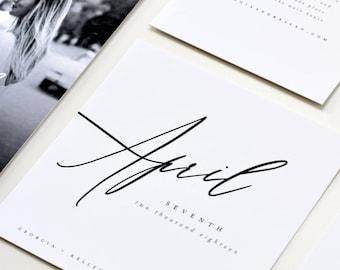 Modern Calligraphy Save the Date, Modern Save the Date, Calligraphy Save the Date, Simple Modern Save the date, Photo Save the date
