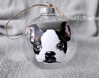 Custom Pet Ornament, Custom Ornament, Custom Christmas Ornament, Custom Dog Ornament, Custom Dog Ornaments, Dog Ornaments, Boston Terrier