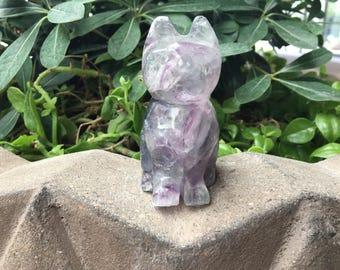 Fluorite Cat, Cat Carving, Stone Carving, Fluorite Carving, Violet Fluorite