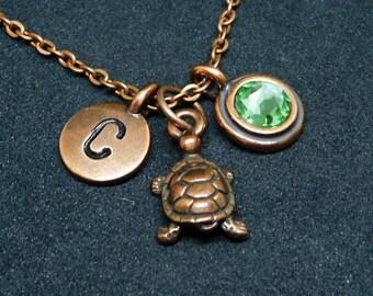 Copper Turtle necklace, swarovski birthstone, initial necklace, birthstone necklace, initial charm
