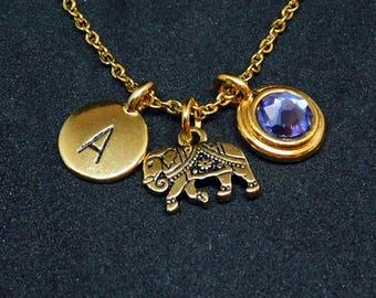 Gold Elephant necklace, swarovski birthstone, initial necklace, birthstone necklace, initial charm