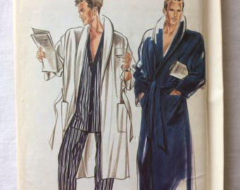 Vintage UNCUT New Look 6501 Men's Size Extra Small, Small, Medium, Large, Extra Large Robe Pattern