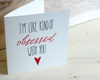 Funny Greeting Card, Red Foil Obsessed Hand Lettered with Envelope, Square