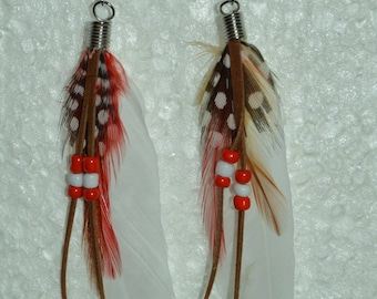white feather earrings, black, Red