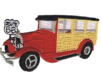 Woodie Classic Car Hot Rod Route 66 Patch (Iron on)