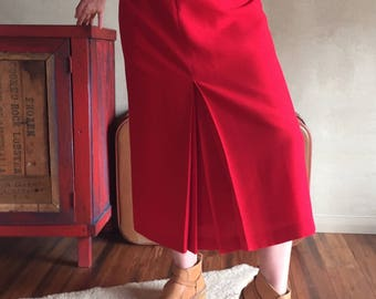 Vibrant red vintage wool blend skirt