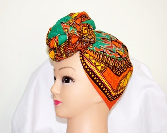 Kelly Green Dashiki Print Ankara Head wrap, DIY head tie, Stylish African head scarf, Fabric hair accessory – Made to Order