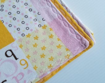 Pink Flannel Baby Blanket, Receiving Blanket, Flannel Blanket, Baby Blanket, Yellow and Pink, Baby Girl Blanket-Ready to Ship