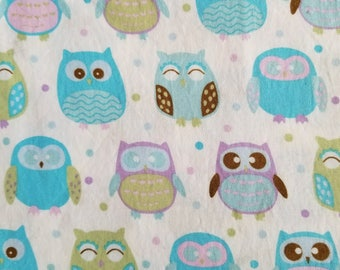 Cotton Fabric, Sewing Fabric, Quilting Fabric, Blue Owls, 5 yards-Ready to Ship
