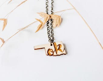 """Oklahoma Inital """"OK"""" Engraved Necklace, Laser Cut Wood Charm, Oklahoma State Necklace, State Shape Necklace, Oklahoma State Pride"""