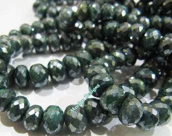 Best Quality Natural Emerald Rondelle Faceted Beads , Mystic AB Coated Far Size Beads 6 to 8 mm , Strand 8 inches , Precious Gemstone Beads.