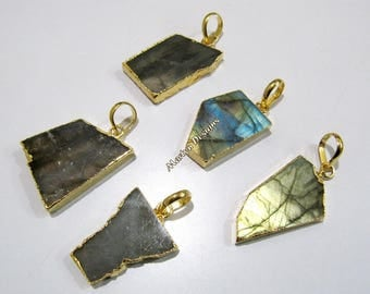 SALE- Natural Labradorite Slice Pendant Free Form , Connector Charm With 24 kt Gold Electroplated Edge , Single Loop 1 inches approximately.