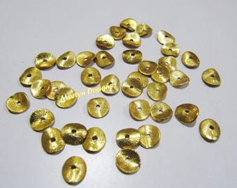Set of 10 Pieces- Wavy Disk Shape Metal Beads , 24 kt Gold Plated Beads , Handmade Spacer Beads 8mm , Center Drilled Beads , Matte Finish.