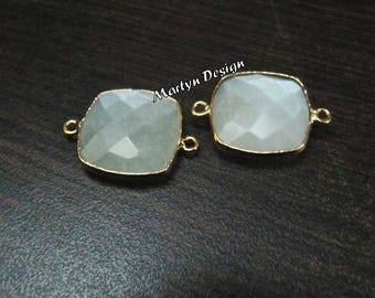 AAA Quality Natural White Moonstone Cushion Shape Briolette Connector Double Loop Bezel Gemstone Charms , Size 15mm