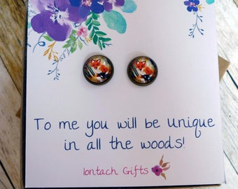 To me you will be unique in all of the woods, fox, Bronze Post Earrings