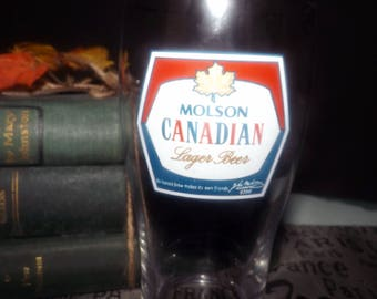 Vintage (c. late 1980s) Molson Canadian Beer   Molson Breweries half-pint beer glass.  Etched logos and type.