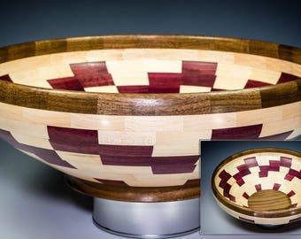 Maple-Purpleheart-Walnut Segmented Bowl