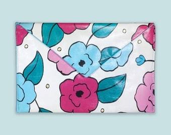 Clutch Hand Painted, Painted Purse, Floral Print Handbag, Envelope Clutch, Vinyl Bag for Women, Birthday Gift Handbag, Handmade Ladies Bag