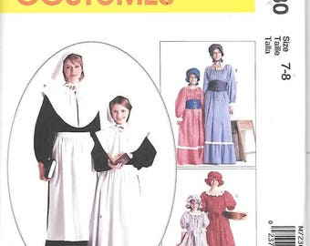 Girls Colonial Costumes, Sizes 7 Thru 8, New McCalls Pattern 7230