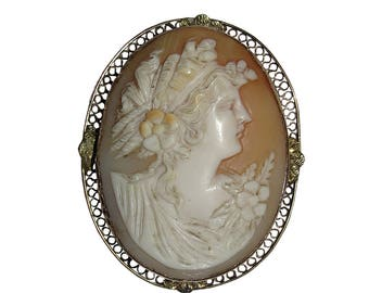 Edwardian 14 kt Gold & Shell Cameo Woman's Profile Brooch Pendant