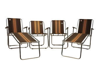 Vintage ZIP DEE Folding Chair Set of 4 BROWN cloth chrome lawn Airstream rv camping mid century modern outdoor seating metal leg extension