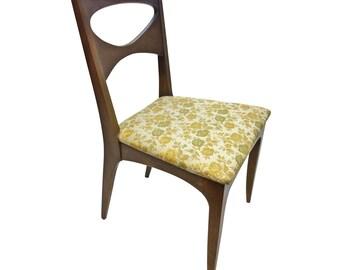 DREXEL PROFILE Dining Chair mid century modern vintage upholstered wood gold John O Van Koert blonde 50s 60s furniture living room modernist