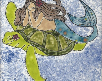 Mermaid #284 with Sea Turtle Hand Painted Kiln Fired Decorative Ceramic Wall Art Tile 6 x 6