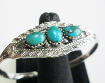 Striking Non-Traditional (No Native Symbols) Fred Harvey Style Navajo Sterling Silver and 3 Turquoise Stone Bracelet