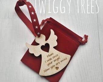 Star rememberance  Christmas decoration mum loved one loss wooden santa xmas personalised Angel Memory tree mummys girl
