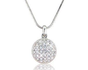 Collier pendentif en forme de boule avec cristaux  de Swarovski & Chaîne argent inclus *Expédition gratuite Canada*Free shipping to Canada