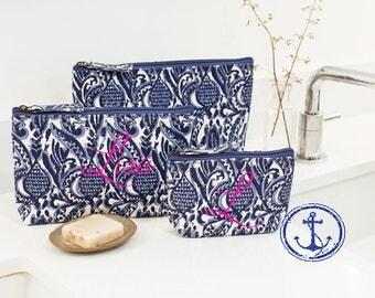 Monogrammed Cosmetic Bag,Monogrammed makeup bag, Monogrammed Bridesmaids Gifts, Personalized Makeup Bag, Set of Three Cosmetic Bags - CB01